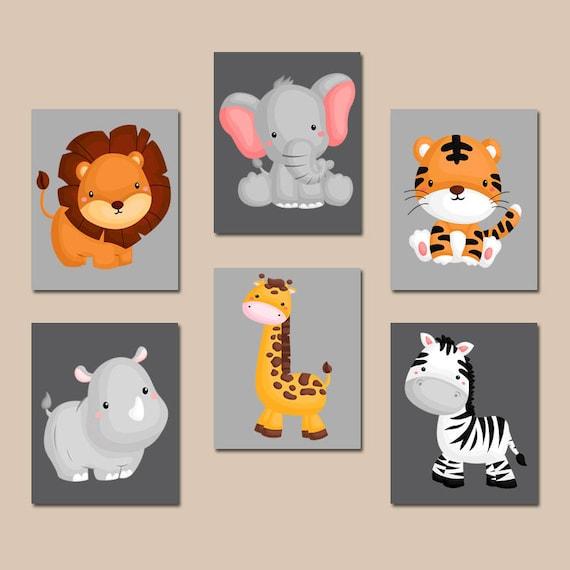 JUNGLE Animal Wall Art Baby Boy Animal Nursery Decor Safari