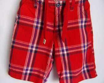 Vintage Men's Trousers/ Red Blue White Shorts/Checked Shorts/Summer Beach Shorts/With Pockets/ Size M