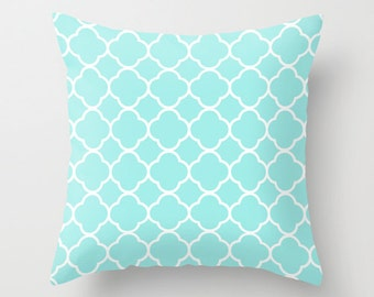 Aqua Pillow, Quatrefoil, Velvet, Aqua Throw Pillow, Teen Girl Room Decor, Girls Bedroom Decor, Tween Room Decor, Girls Bedding, Dorm Pillows