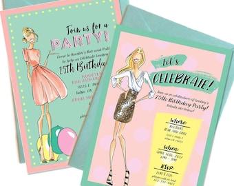 Party Invitations, Custom invites, graduation invitations, fashion party invitations, adult invitations, Fashion birthday invitations