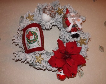 Christmas Wreath - Christmas Blessings - embroidery cross stitch and hand made beads