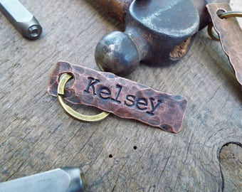 Customized keychain. 7th anniversary gift. Personalized key chain. Copper anniversary gift. Custom name. Engraved keychain