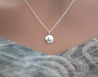 Sterling Silver Simple L Initial Necklace, Silver Stamped L Necklace, Stamped L Initial Necklace, Small L Initial Necklace, L Initial Charm
