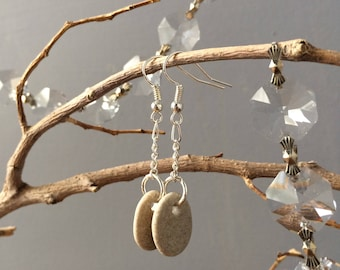 ROCKY EARRINGS...beach stone beige silver natural drilled rocks beach finds wedding stocking stuffer Christmas