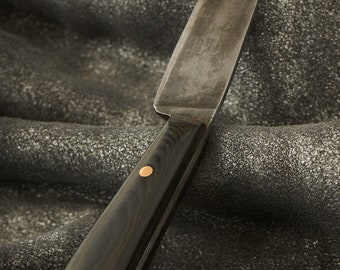 Hand Forged Paring Knife With Black Micarta Handle