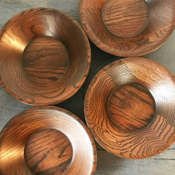 vintage wooden bowls - handmade salad bowl set - Mid Century Modern - kitchen dining serve ware