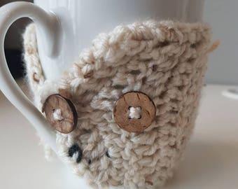 Mug cozy, handmade cup cozy, crocheted cup cozy, reusable cup sleeve, crochet coffee cozy, mug hug, oatmeal coloured cozy