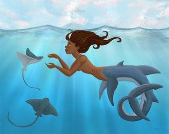 Mermaid and Stingrays