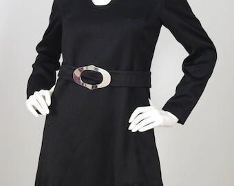 1960s Vintage Space Age Black Silver Buckle Mini Dress Sz S