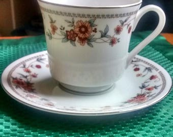 Sheffield Anniversary Fine China Tea Cups and Footed Saucers