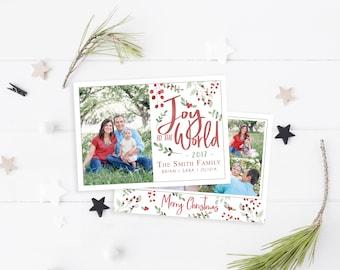 Christmas Card Template - Joy to the World - Christmas Template for Photoshop - Photographer Template - Digital Design