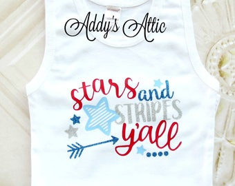 Stars and Stripes Yall Tank Top, 4th of July Shirt, Patriotic Shirt, Toddler Girls Clothes, Baby Girls Clothes, July 4th