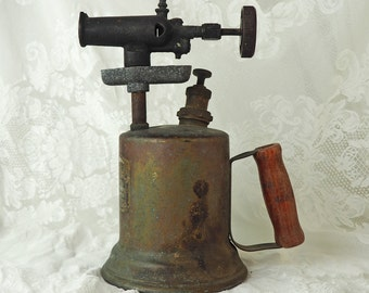 Antique Hand Torch- Rustic brass blow torch with red wooden handle- Very old! Great gift for a tool collector