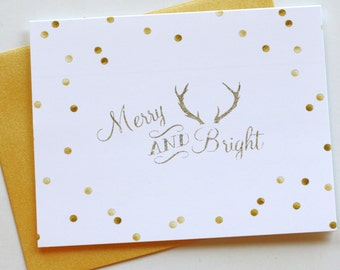 Christmas Cards / Holiday Cards - Gold Dots Merry & Bright - card set of 8