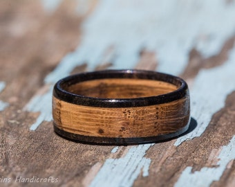 Tennessee Whiskey Barrel and Ebony Wood Ring - Whiskey Barrel Ring Mens Wedding Band Womens Wooden Wedding Engagement Ring Wood Anniversary