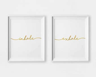 Inhale Exhale Print, Inhale Exhale Gold, Print Yoga Set, Inhale Exhale Art, GYM Wall Art, Inhale Exhale Wall Art