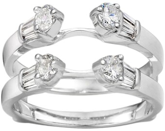 Three Stone Cathedral Anniversary Band Guard - Sterling Silver Ring Guard Enhancer with .80ct White Cubic Zirconia