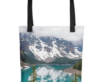 Beautiful Rocky Mountain Photo Tote Bag, Outdoor, Lake, Nature, Trees, Glacier, Unique Strong Washable Fabric, Farmers Market, Overnight Bag