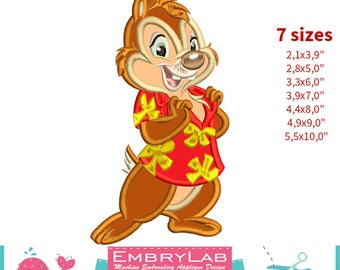 Applique Dale. Chip 'n Dale Rescue Rangers. Machine Embroidery Applique Design. Instant Digital Download (17386)