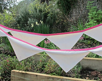 Pink Baby Shower Bunting - Nursery Bridal Wedding Rustic Shabby Chic - Cream Repurposed Napkins Homewares Decoration Party