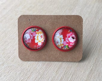 Red Flower Earring Studs//Red Earring Studs//Retro Earring Studs//Flower Jewelry//12 MM Earring Studs
