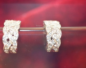 White Crystals Set in Silver Plate Cuff Earrings Elegant Simplicity!