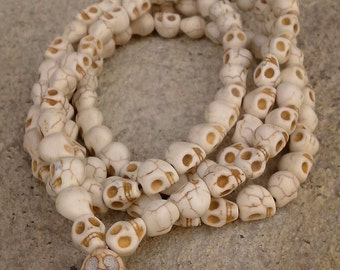 White Turquoise Carved Skull Head 108 Prayer Beads Mala Necklace