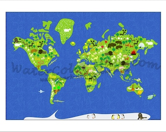 Kids world map wall sticker educational large removable kids maps kids world map childrens maps maps for kids world map gumiabroncs Images
