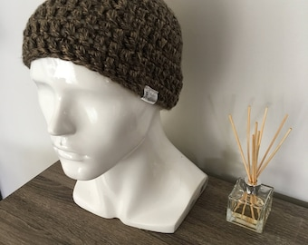 Thick brown handmade crochet beanie