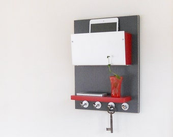 WALL STORAGE BIN: Minimal Modern Wall Mount Organizer with Shelf and Key Hooks  Entry Home Office Decor
