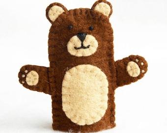 Bear finger puppet, felt finger puppet, bear felt finger puppet, finger puppet, brown bear finger puppet, brown bear, bear