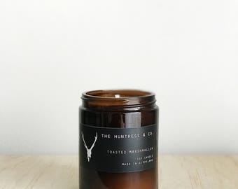 Toasted Marshmallow - Soy Candle - Amber Jar - Bohemian - Hand Poured - Small Batch - Soy Wax - Mandle