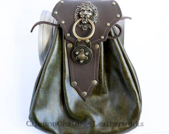 Green Leather Fancy Lion Sporran by Crimson Chain leatherworks - SCA Larp Renactment Garb Costume