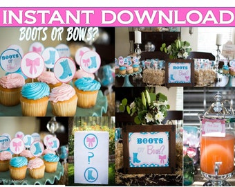 Boots or Bows Gender Reveal Party Package, over 100 items, Instant Download, Boy or Girl?  Baby shower printables, Package, Sale, Download