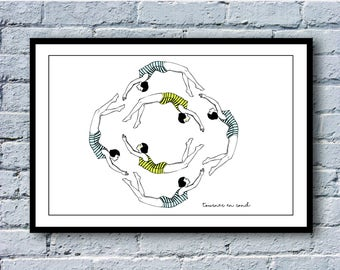 """Going in circles"" - illustration series French phrases. A3. Poster / print"