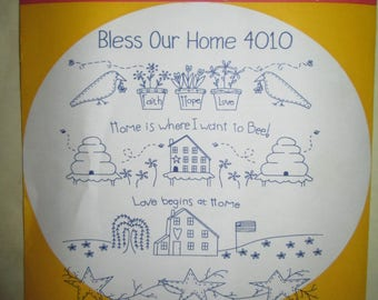 Aunt Martha's Hot Iron Transfers 4010 Bless Our Home Embroidery