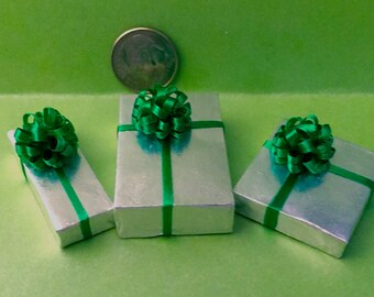 Silver Foil Packages w Green bow