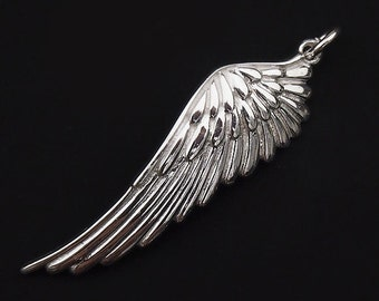 1 of 925 Sterling Silver Angel Wing Charm 11.5x39mm. :th1740