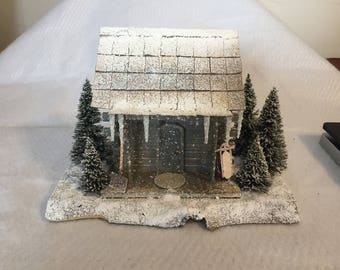Diorama of winter cabin