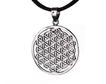 Flower of Life brass pendant On Wax Cord Yoga Jewellery Sacred Geometry Adjustable Unisex Free UK Shipping + Gift Bag WBP1
