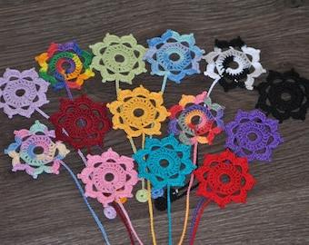 Hand made Crocheted Flower Bookmarks - Set of 3 Custom colors OOAK