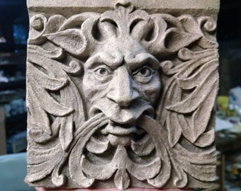 Bigger Green Man Satyr, 6 inch square Architectural  Detail, cast stone relief sculpture, Victorian Gothic, Grotesque, Cast Shadows Studio