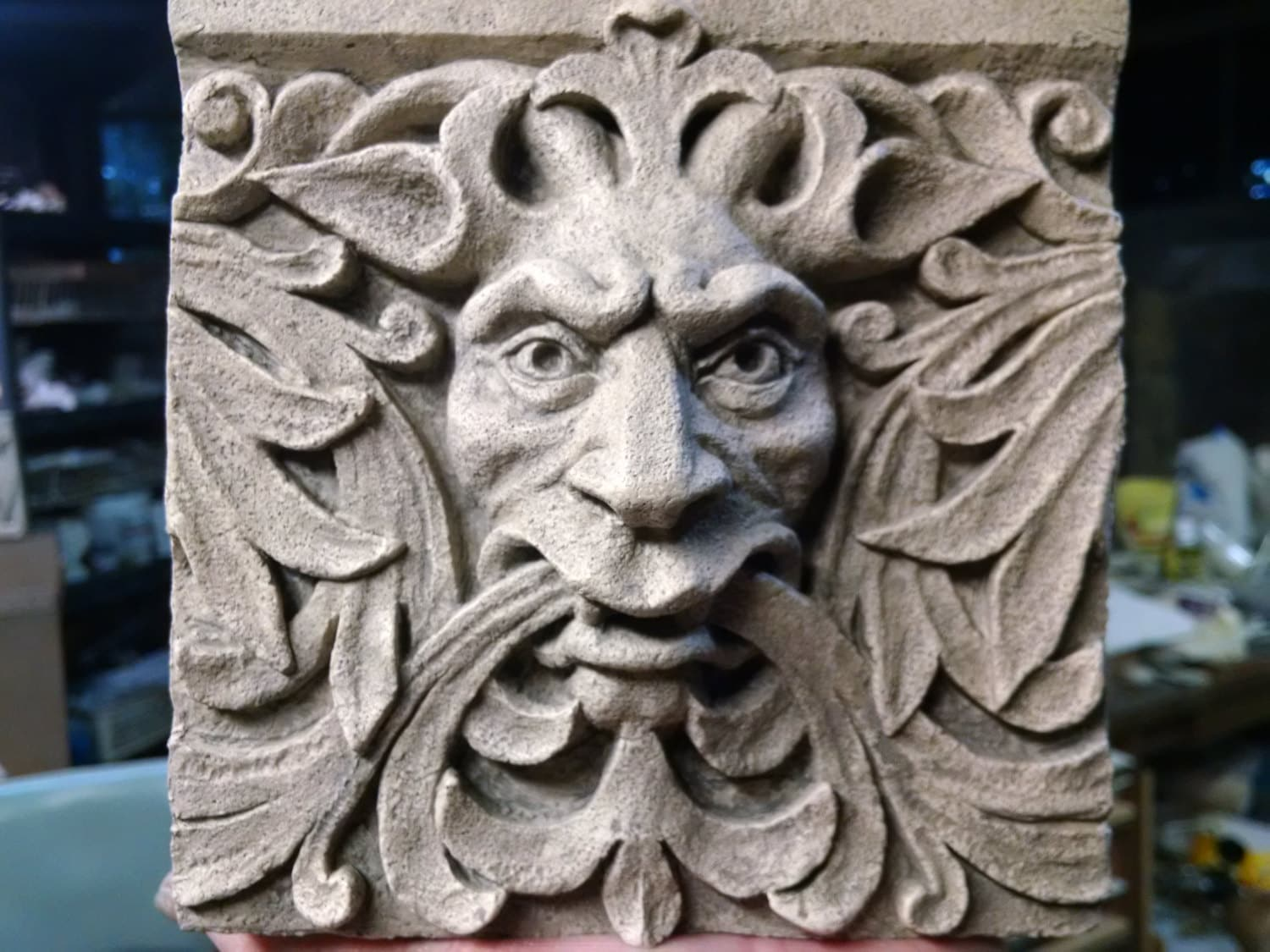 Bigger Green Man Satyr 6 Inch Square Architectural Detail