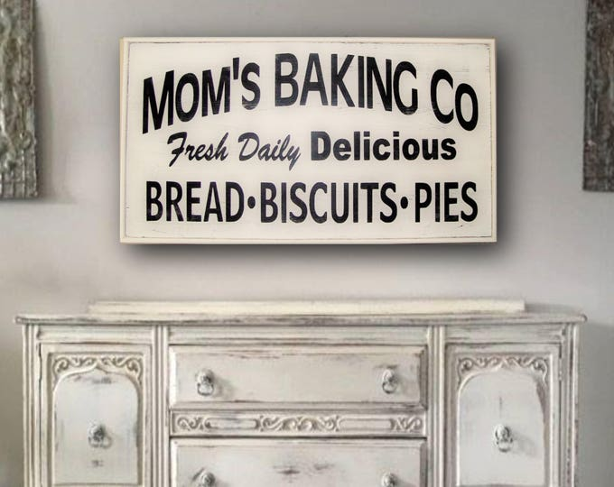 Farmhouse kitchen decor, Farmhouse Kitchen Sign, Farmhouse Kitchen Wall Decor, Farmhouse Wall Decor, Framed Mom's Baking Co Sign, Large Sign