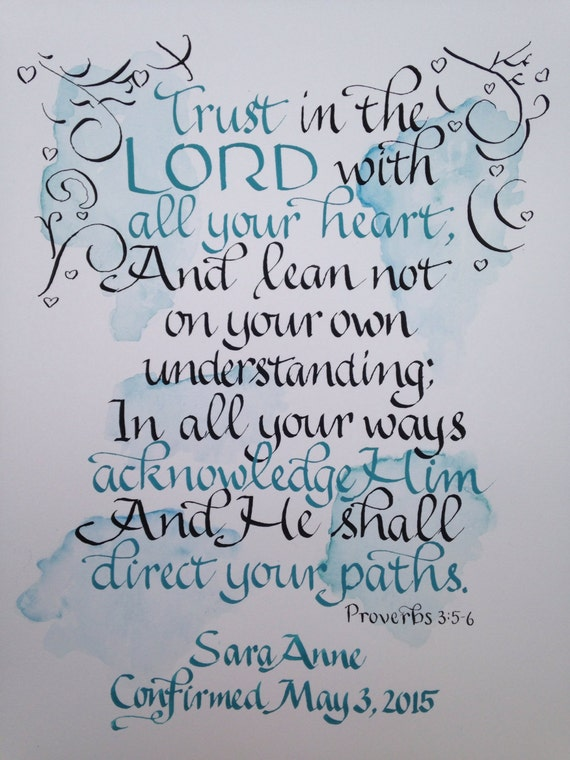 Proverbs 3 5 6 11 X 14 Custom Calligraphy Religious