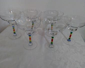 Set of Six (6) Clear Margarita Glasses with Striped Stem