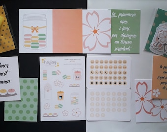 April 2018 Theme Planner Kit with macarons, candles and cherry blossoms made entirely by hand