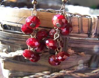 Dark Red Cranberry Cluster Dangle Earrings