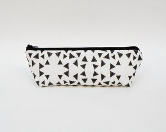 Black and White Triangles Pencil Case - Minimalist Zipper Pouch - Geometric - Back to School Supplies