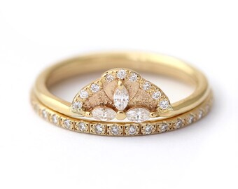 Diamond Wedding Set, Cluster Wedding Set, Bridal Wedding Set, Diamond Wedding Ring, Diamond Eternity Set, Marquise Diamond Engagement Ring